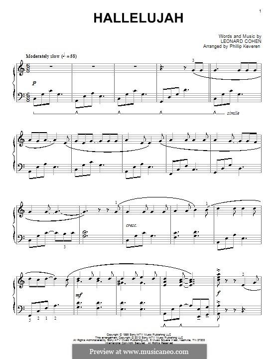 Hallelujah, for Piano: para um único musico (Editado por H. Bulow) by Leonard Cohen
