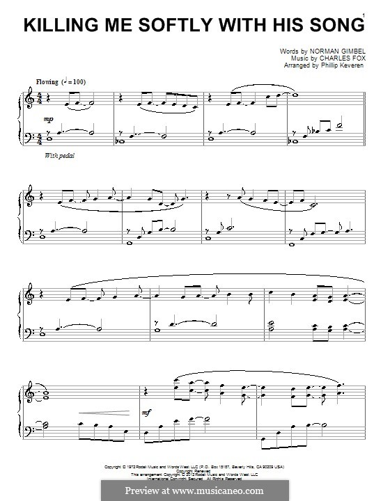 Killing Me Softly with His Song: For piano (Roberta Flack) by Charles Fox