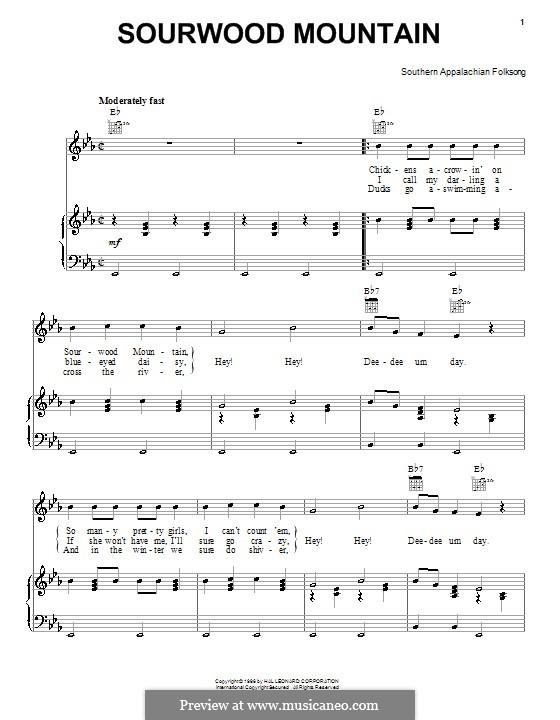 Sourwood Mountain: Para vocais e piano (ou Guitarra) by folklore