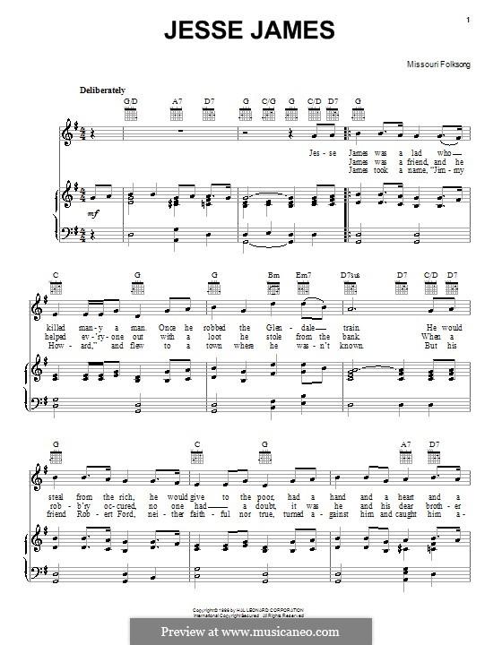 Jesse James: Para vocais e piano (ou Guitarra) by folklore