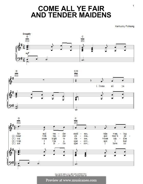 Come All Ye Fair and Tender Maidens: Para vocais e piano (ou Guitarra) by folklore