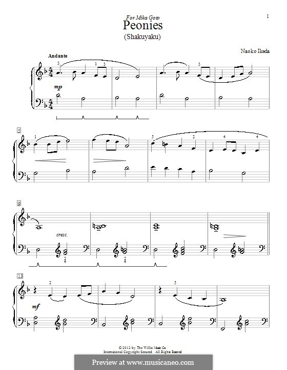 Peonies (Shakuyaku): Para Piano by Naoko Ikeda