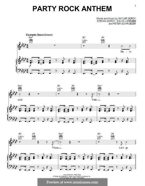 Party Rock Anthem (LMFAO featuring Lauren Bennett): Para vocais e piano (ou Guitarra) by Skyler Gordy, Stefan Gordy, David Listenbee, Peter Schroeder