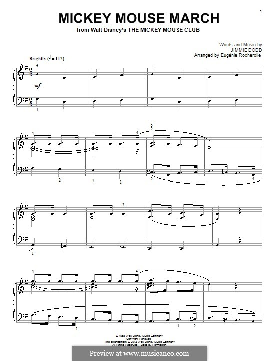 Mickey Mouse March: Para Piano by Jimmie Dodd