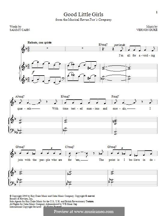 Good Little Girls: Para vocais e piano by Vernon Duke