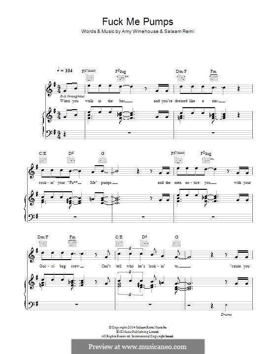 Fuck Me Pumps: Para vocais e piano (ou Guitarra) by Amy Winehouse, Salaam Remi