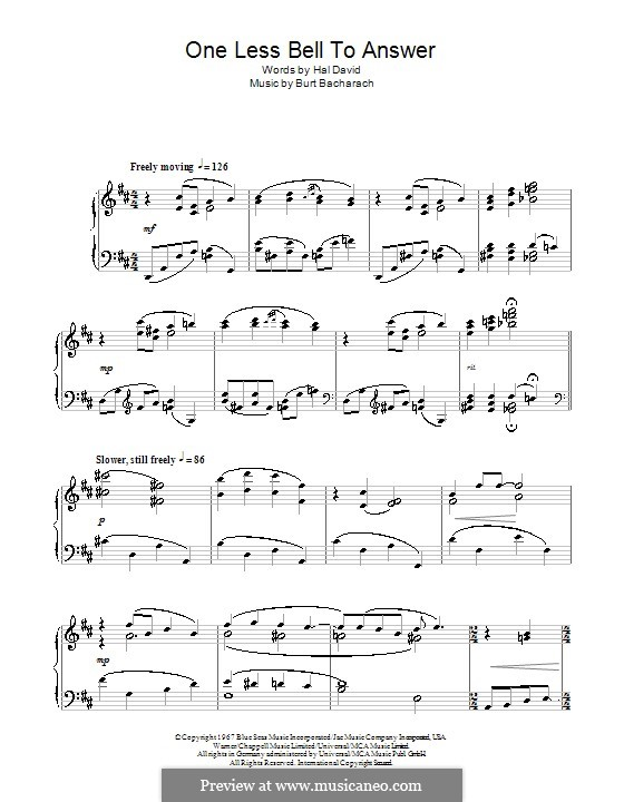One Less Bell to Answer: Para Piano by Burt Bacharach