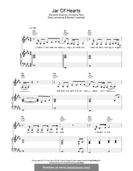 Jar of Hearts: Para vocais e piano (ou Guitarra) by Barrett Yeretsian, Christina Perri, Drew Lawrence