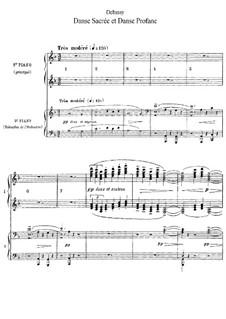 Two Dances for Harp and String Quintet, L.103: Versão para dois pianos de quatro mãos by Claude Debussy