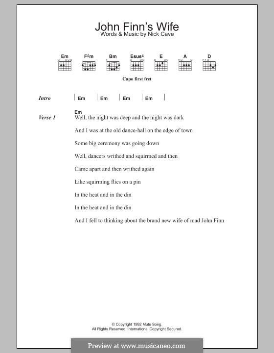 John Finn's Wife: Letras e Acordes by Nick Cave