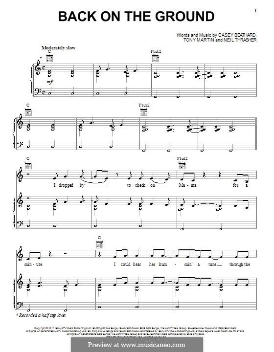 Back on the Ground (Scotty McCreery): Para vocais e piano (ou Guitarra) by Casey Beathard, Neil Thrasher, Tony Martin