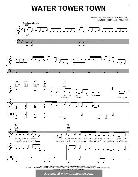 Water Tower Town: Para vocais e piano (ou Guitarra) by Tammi Kidd, Lynn Hutton, Cole Swindell