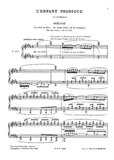 L'enfant prodigue (The Prodigal Son), L.57: Partitura Piano-vocal by Claude Debussy