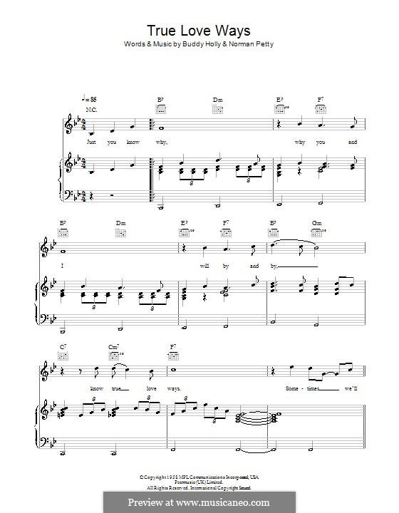 True Love Ways (Military Wives): Para vocais e piano (ou Guitarra) by Buddy Holly, Norman Petty