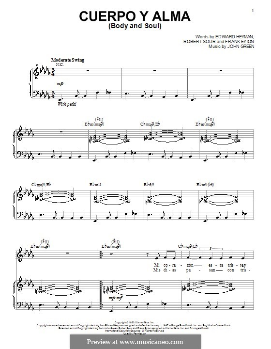 Body and Soul: Para vocais e piano by John W. Green