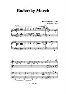 Radetzky March, Op.228: para piano de quadro mãos by Johann Strauss Sr.
