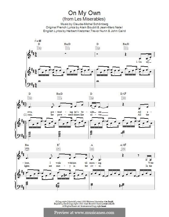 On My Own: For voice and piano or guitar (Military Wives) by Claude-Michel Schönberg