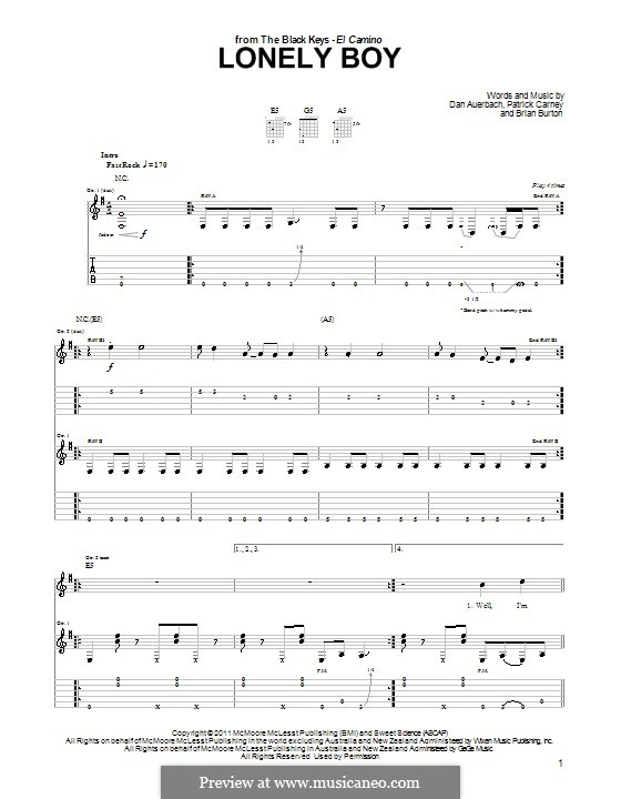 Lonely Boy (The Black Keys): Para Guitarra by Brian Burton, Daniel Auerbach, Patrick Carney