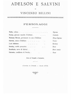 Adelson e Salvini (Adelson and Salvini): Partitura Piano-vocal by Vincenzo Bellini
