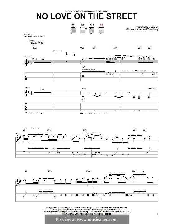 No Love on the Street: Para Guitarra by Michael Kamen, Tim Curry