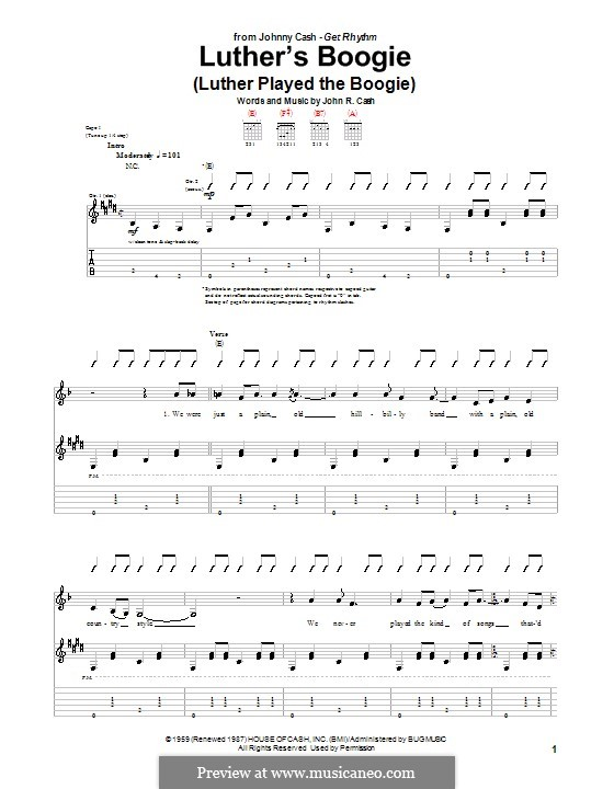 Luther's Boogie (Luther Played the Boogie): Para Guitarra by Johnny Cash