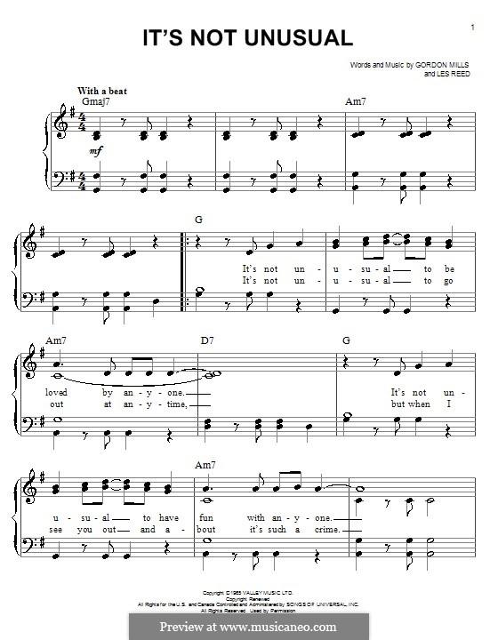 It's not Unusual (Tom Jones): Para Piano by Gordon Mills, Les Reed