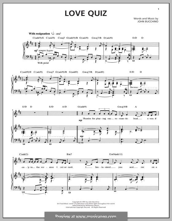 Love Quiz: Para vocais e piano by John Bucchino