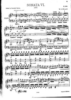 Sonata for Piano No.6 in D Major, K.284: para dedilhado by Wolfgang Amadeus Mozart