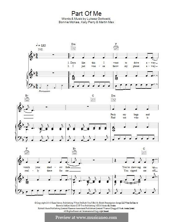Part of Me: Para vocais e piano (ou Guitarra) by Bonnie McKee, Katy Perry, Lukas Gottwald, Max Martin