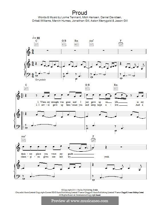 Proud (JLS): Para vocais e piano (ou Guitarra) by Aston Merrygold, Daniel Davidsen, Jonathan Gill, Marvin Humes, Mich Hansen, Oritsé Williams, Jason Gill