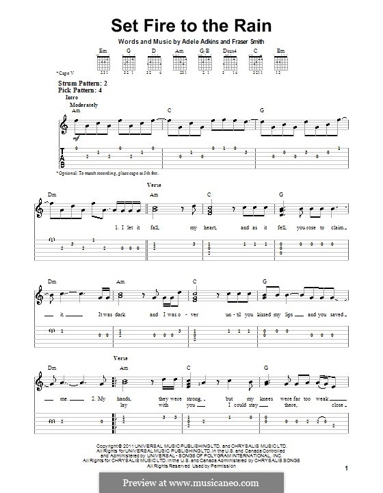 Set Fire to the Rain: Para Guitarra by Adele, Fraser T. Smith