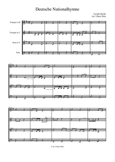 Deutsche Nationalhymne: para quarteto de bronze by Joseph Haydn