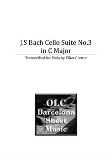 Suite for Cello No.3 in C Major, BWV 1009: Arranjo de viola by Johann Sebastian Bach
