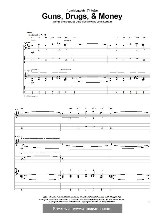 Guns, Drugs, and Money (Megadeth): Para guitarra com guia by Dave Mustaine, John Karkazis