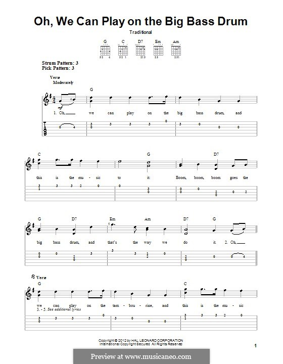 Oh, We Can Play on the Big Bass Drum: Para guitarra com guia by folklore