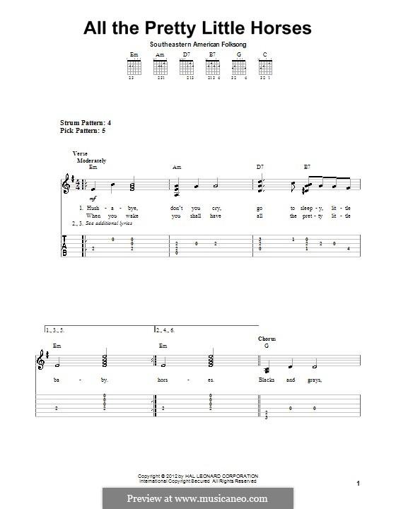 All the Pretty Little Horses: Para guitarra com guia by folklore