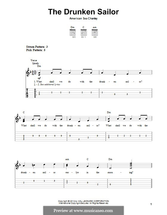 The Drunken Sailor: Para guitarra com guia by folklore