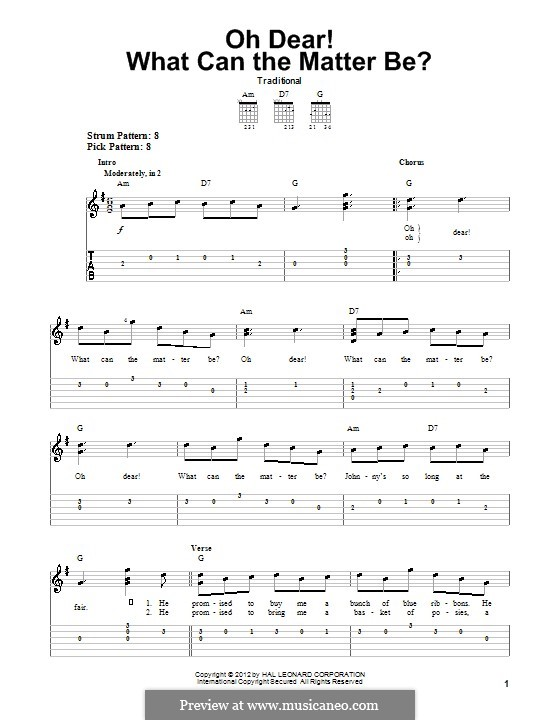 Oh Dear What Can the Matter Be?: Para guitarra com guia by folklore