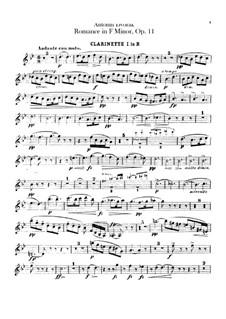 Romance in F Minor, B.39 Op.11: parte clarinetas by Antonín Dvořák