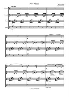 Ave Maria: partes - para quarteto de cordas by Johann Sebastian Bach, Charles Gounod