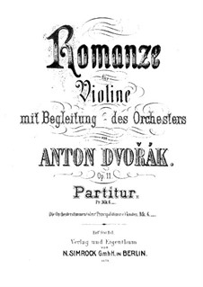 Romance in F Minor, B.39 Op.11: Partitura completa by Antonín Dvořák