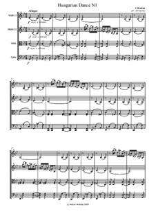 Dance No.1 in G Minor: para quartetos de cordas by Johannes Brahms