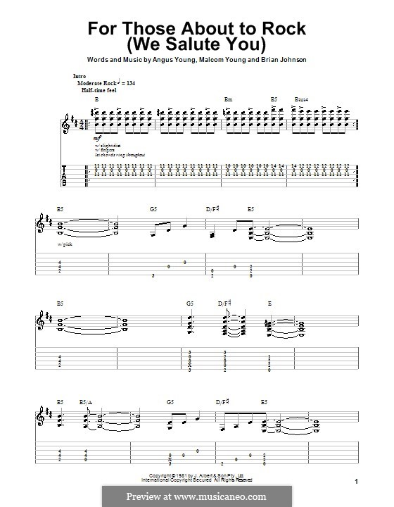 For Those About to Rock (We Salute You): For guitar (AC/DC) by Angus Young, Brian Johnson, Malcolm Young