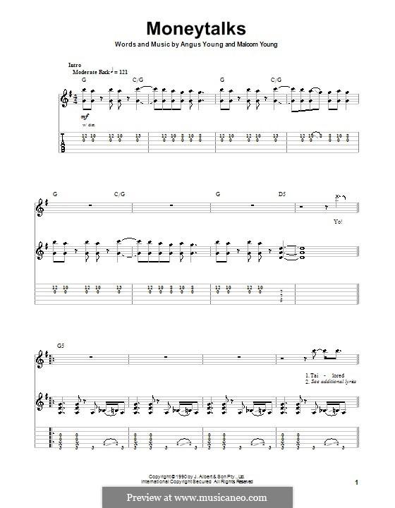 Moneytalks (AC/DC): Para guitarra com guia by Angus Young, Malcolm Young