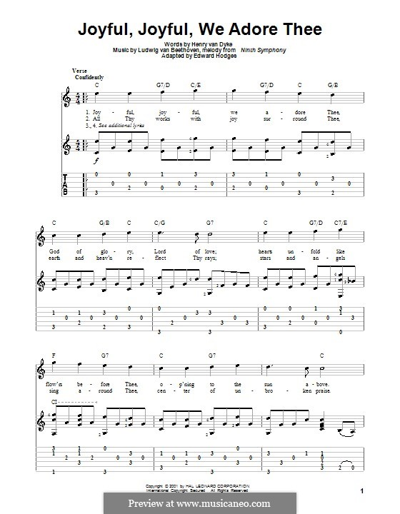 Ode to Joy (Printable scores): Version for guitar by Ludwig van Beethoven