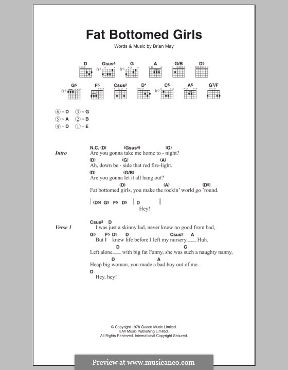 Fat Bottomed Girls: Lyrics and chords (Queen) by Brian May