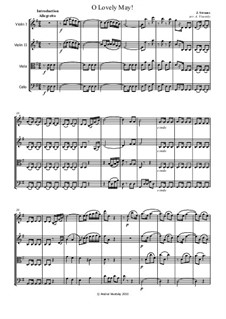 Oh Lovely May, Op.375: para quartetos de cordas by Johann Strauss (Sohn)