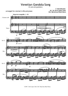 Songs without Words, Op.19b: No.6 Venezianisches Gondellied (Venetian Gondola Song), for clarinet and piano by Felix Mendelssohn-Bartholdy