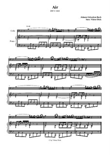 Aria. Arrangement for two performers: Сello and piano by Johann Sebastian Bach