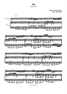 Aria. Arrangement for two performers: Recorder and piano by Johann Sebastian Bach